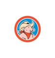 Pig Cowboy Head Circle Cartoon vector image