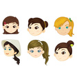 Girls heads vector image vector image