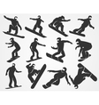 silhouettes of snowboarders vector image