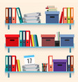 documents and folders on shelves set vector image