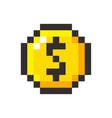 Pixel art golden coin dollar retro video game vector image