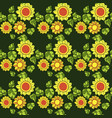 seamless texture with sunflowers and green leaves vector image