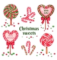set of sugar candies for holiday vector image