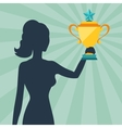 Silhouette of girl holding prize cup vector image