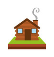 wooden cabin house chimney camp grass vector image