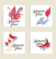 four square cards hand drawn creative flowers vector image