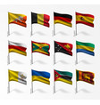 collection of flags of world on flagpole vector image