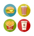 Set of flat icon with vector image