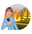 Pretty young woman reports news about fire vector image vector image