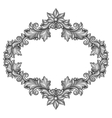 Baroque ornamental antique silver frame on white vector image