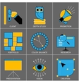 Set of Flat Line Design Icons for Digital vector image