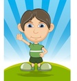 The boy smiling and waving his hand cartoon vector image