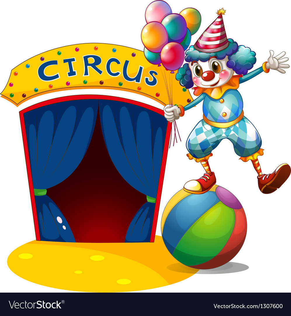 A clown with balloons balancing above a ball vector