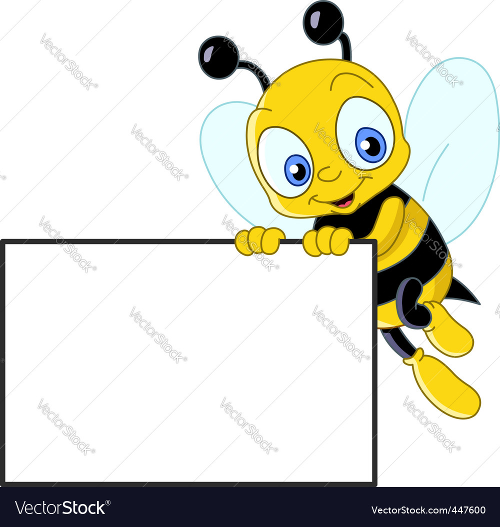 Cute bee with sign vector