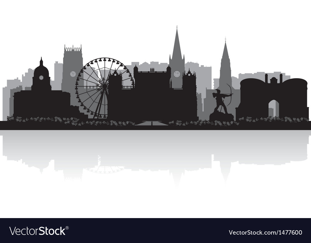 Nottingham city skyline silhouette vector