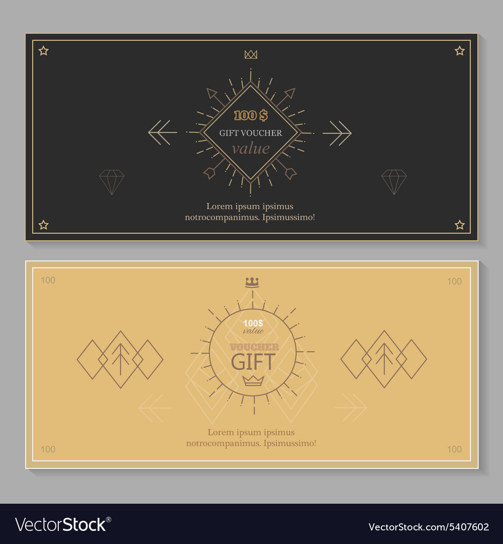 Gift certificate voucher coupon template with line vector