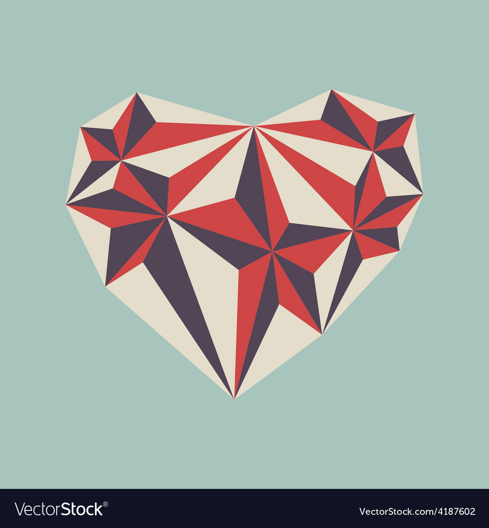 Low poly heart symbol vector