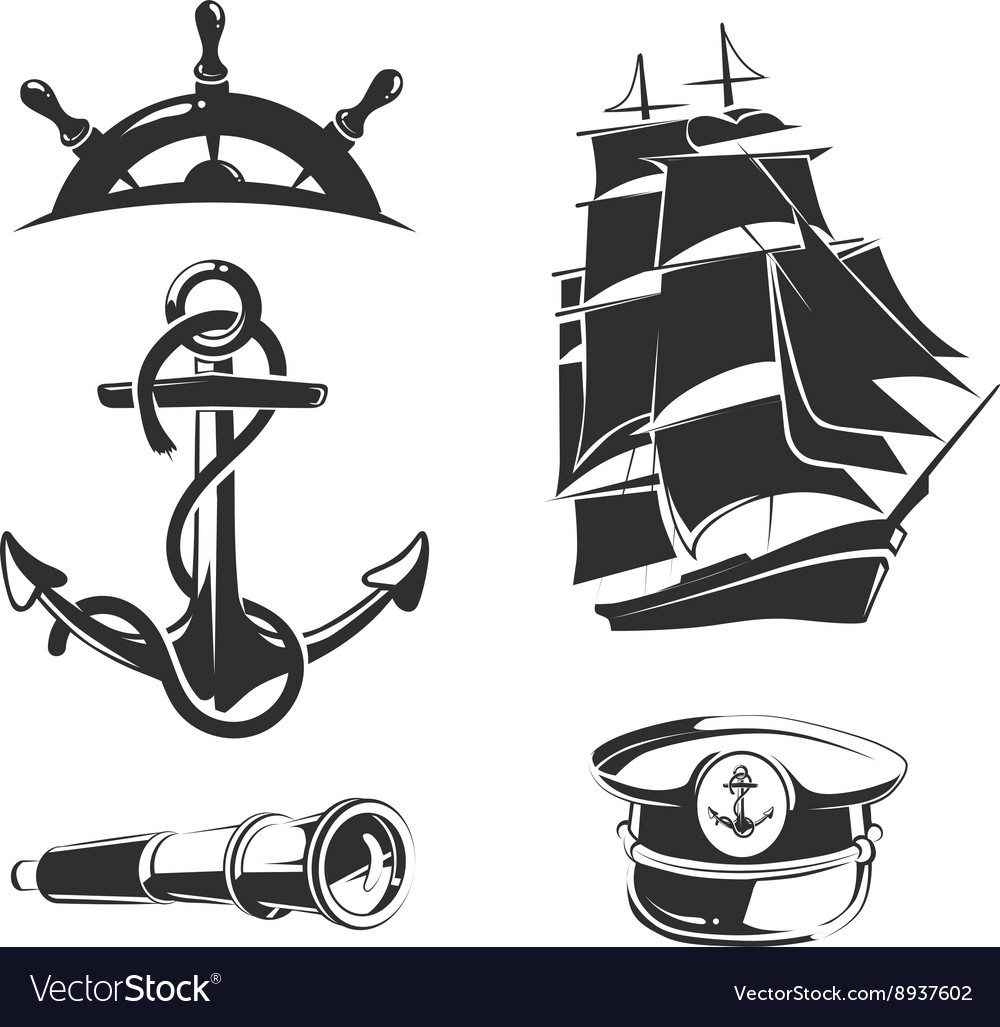 Nautical elements for vintage labels vector