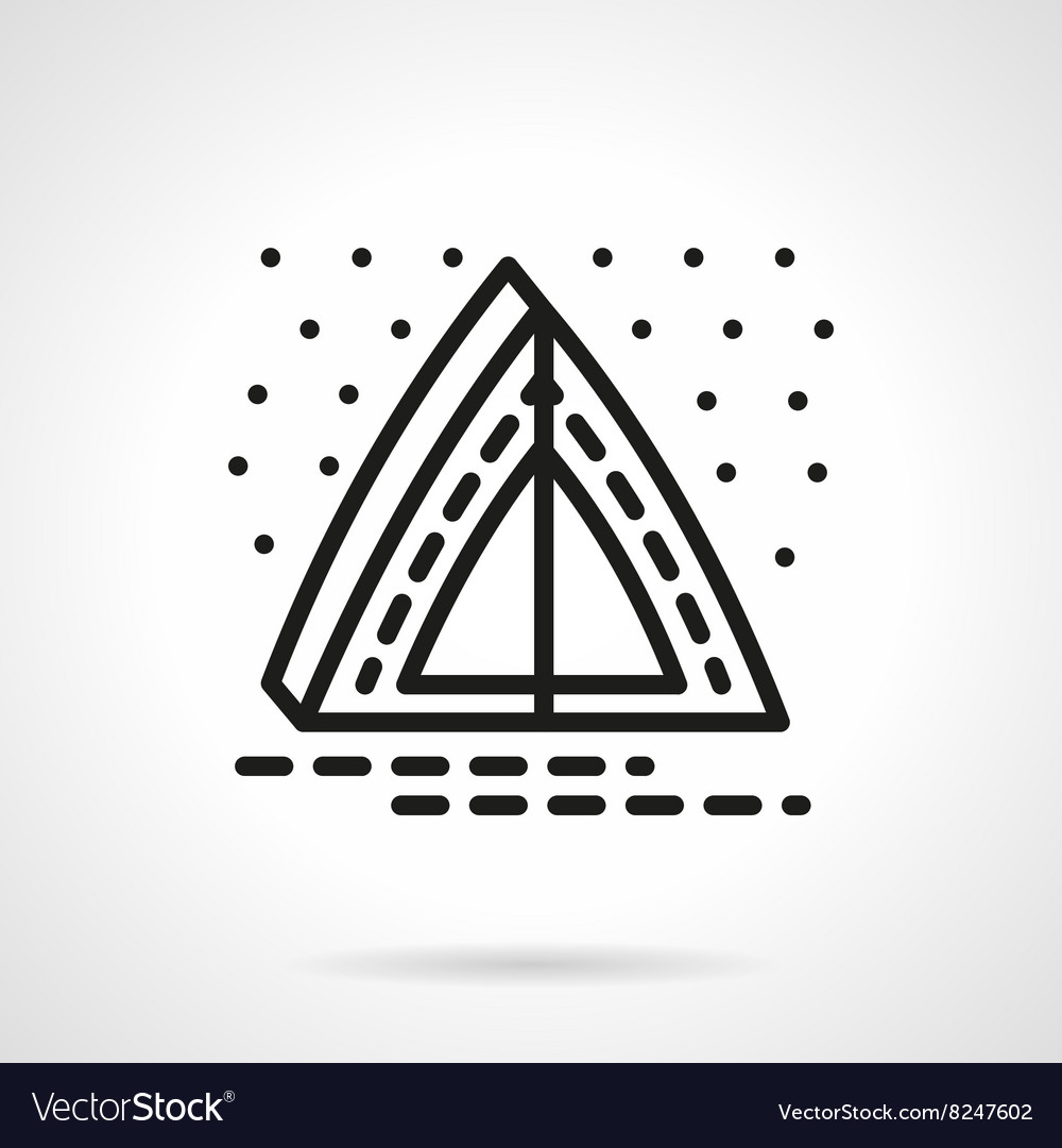 Overnight camping simple line icon vector