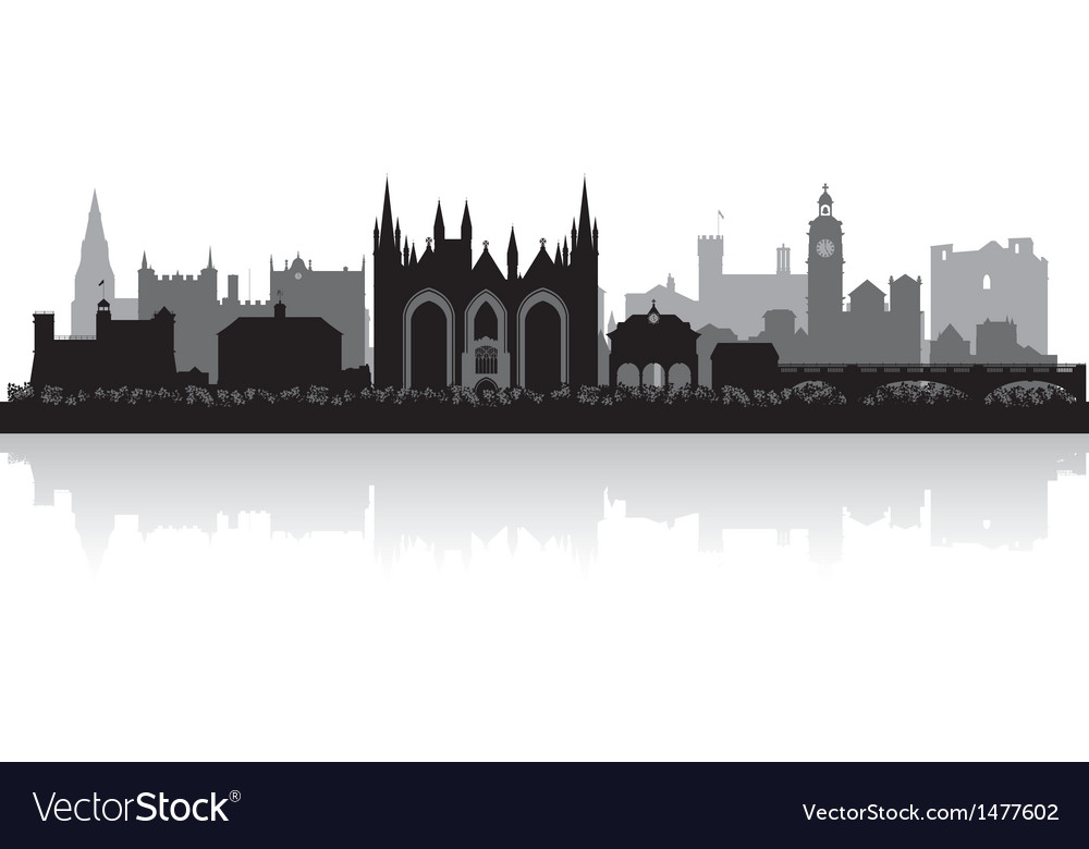 Peterborough city skyline silhouette vector