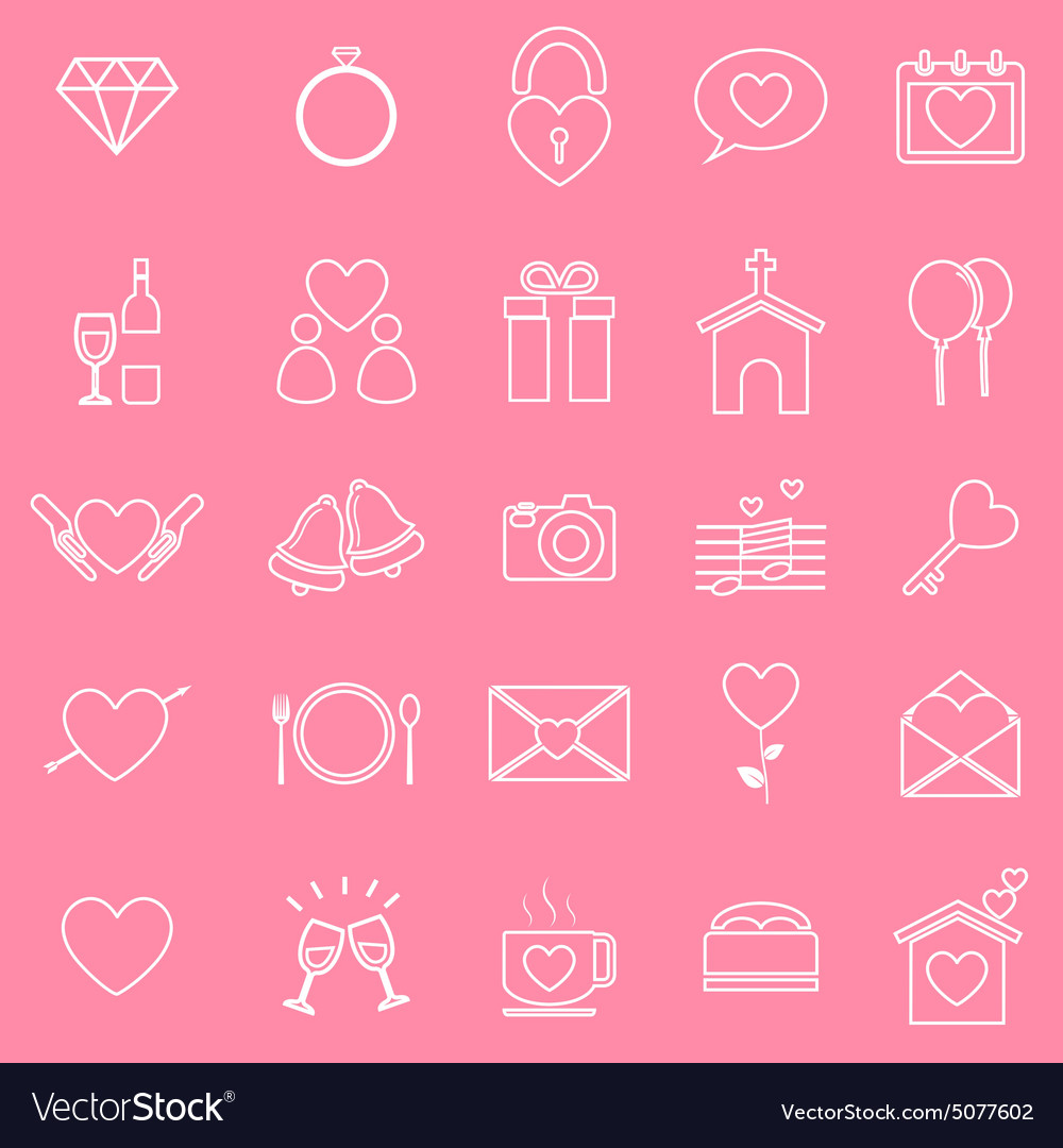 Wedding line icons on pink background vector