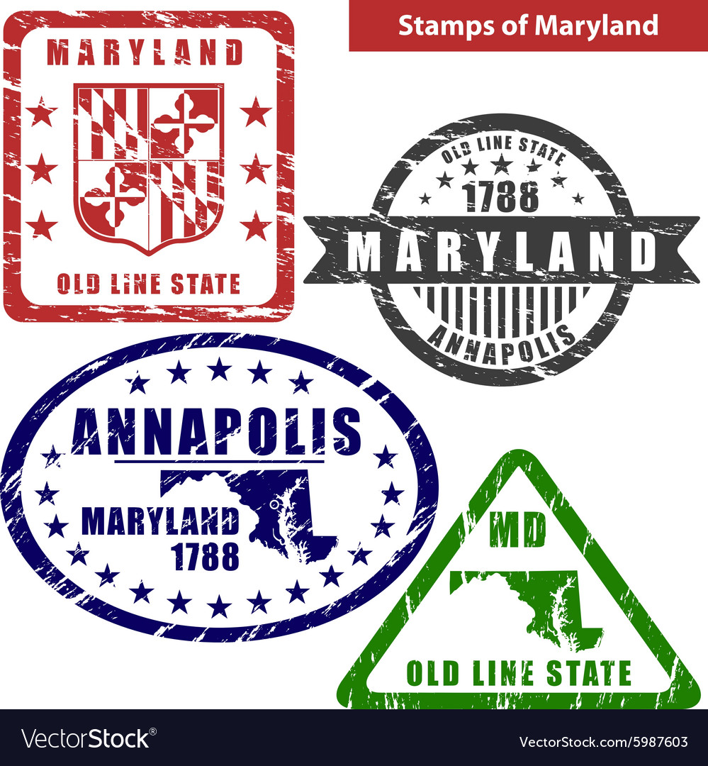 Maryland in stamps vector