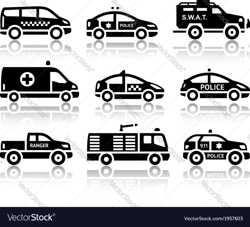 Set of service automobiles black icons vector
