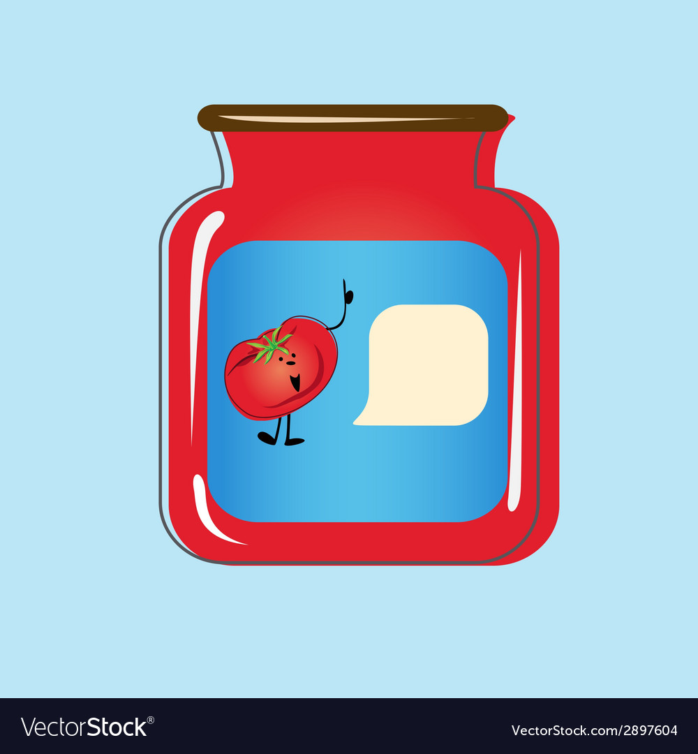 Bank with home canned tomatoes design vector