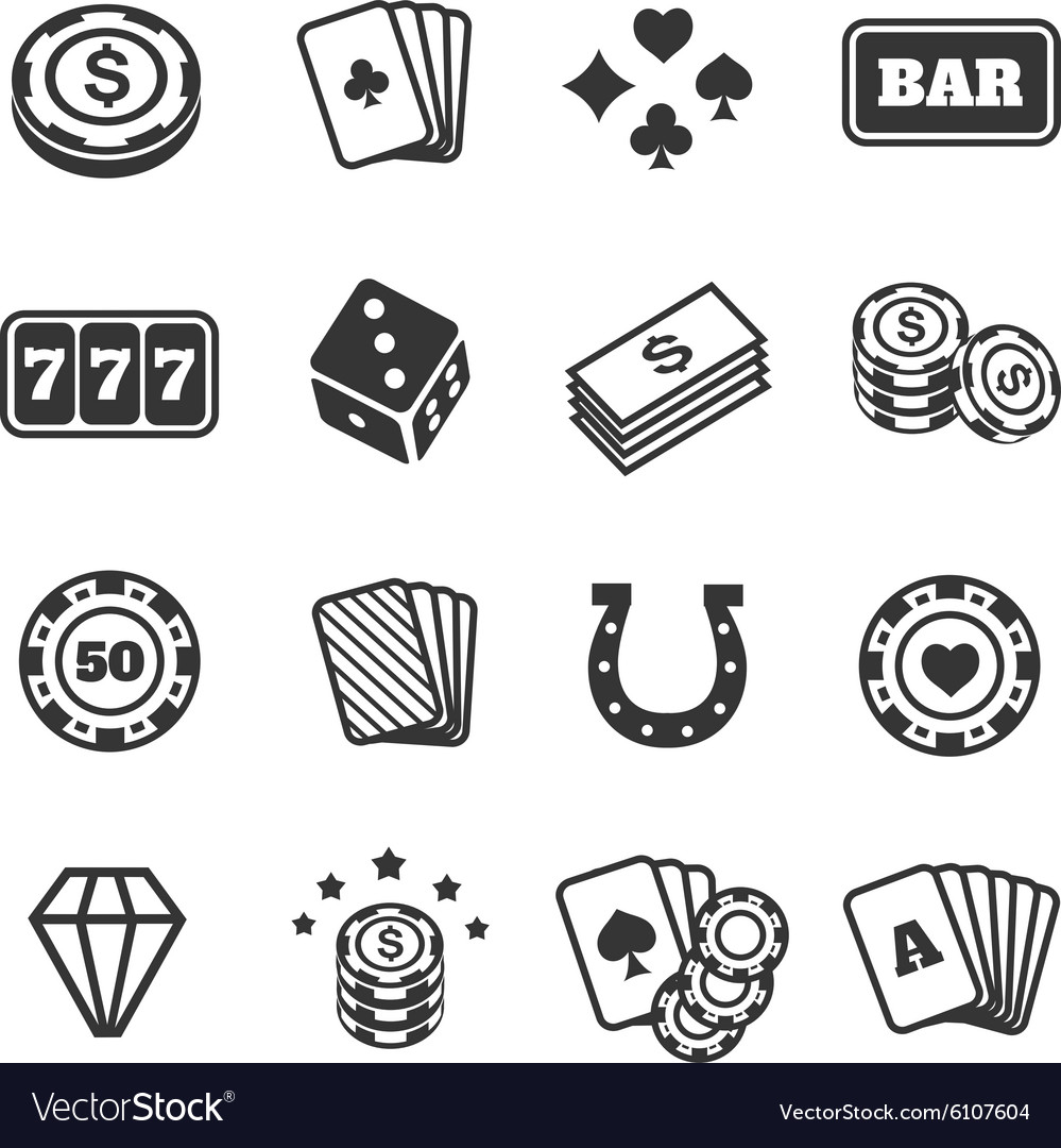 Gambling icons set casino and card poker game vector