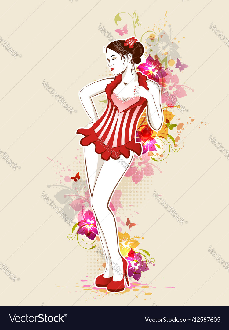 Beautiful girl in red dress vector