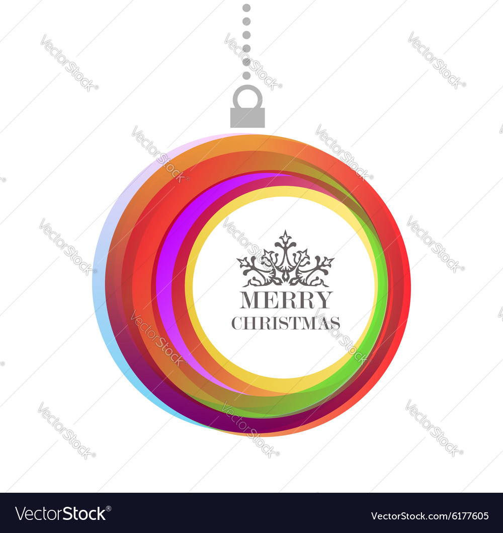 Merry christmas bauble color text background vector