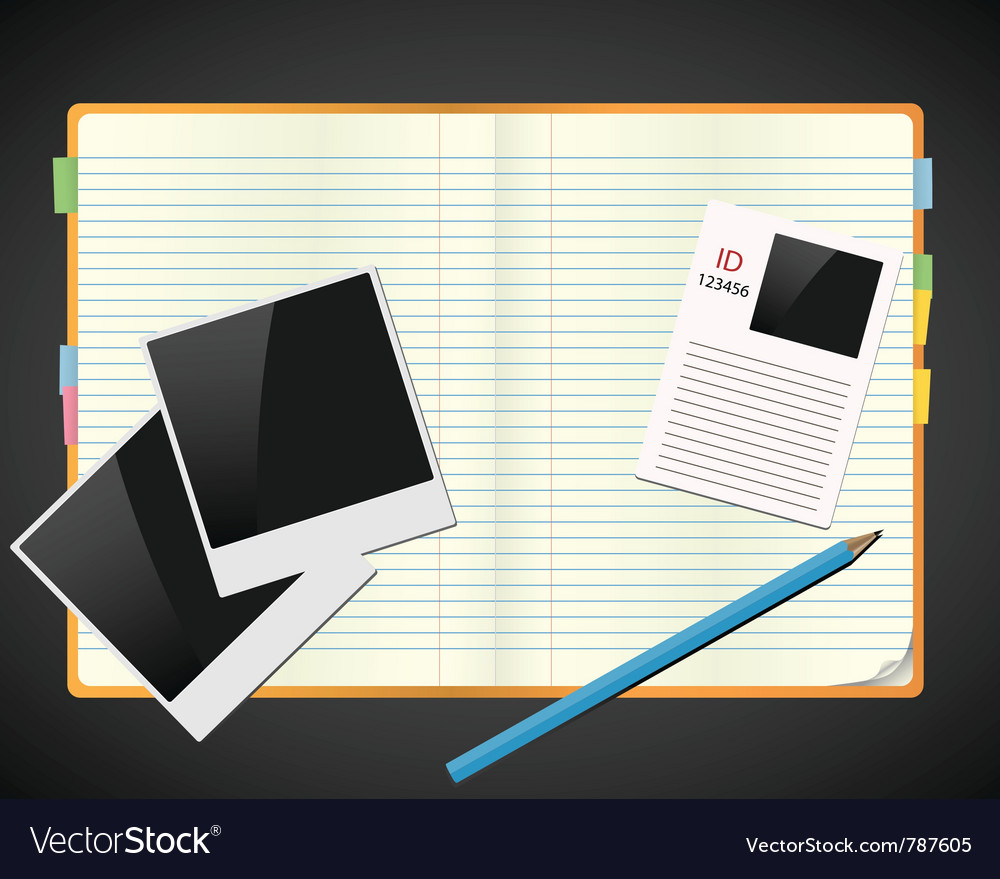 Sketchbook with photos id and pencil vector