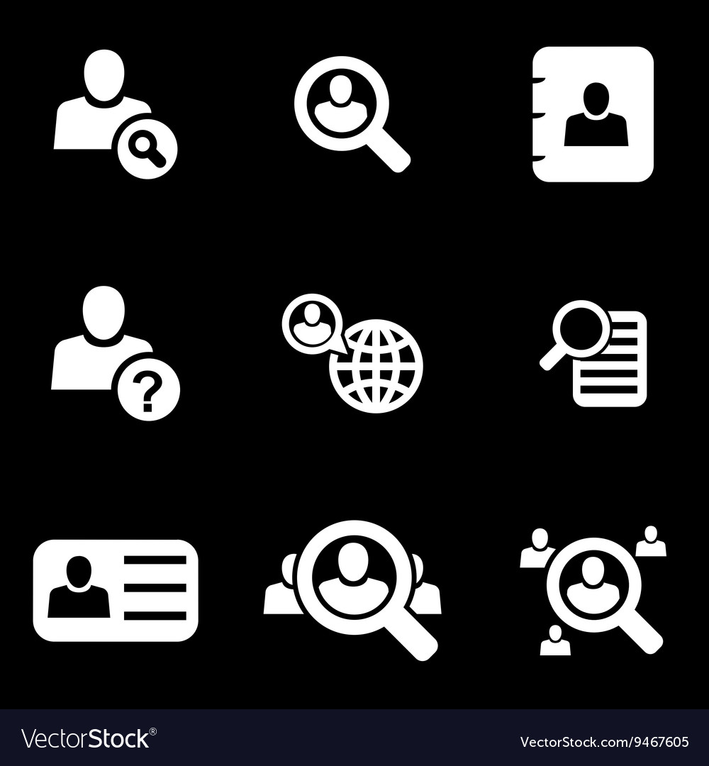 White people search icon set vector