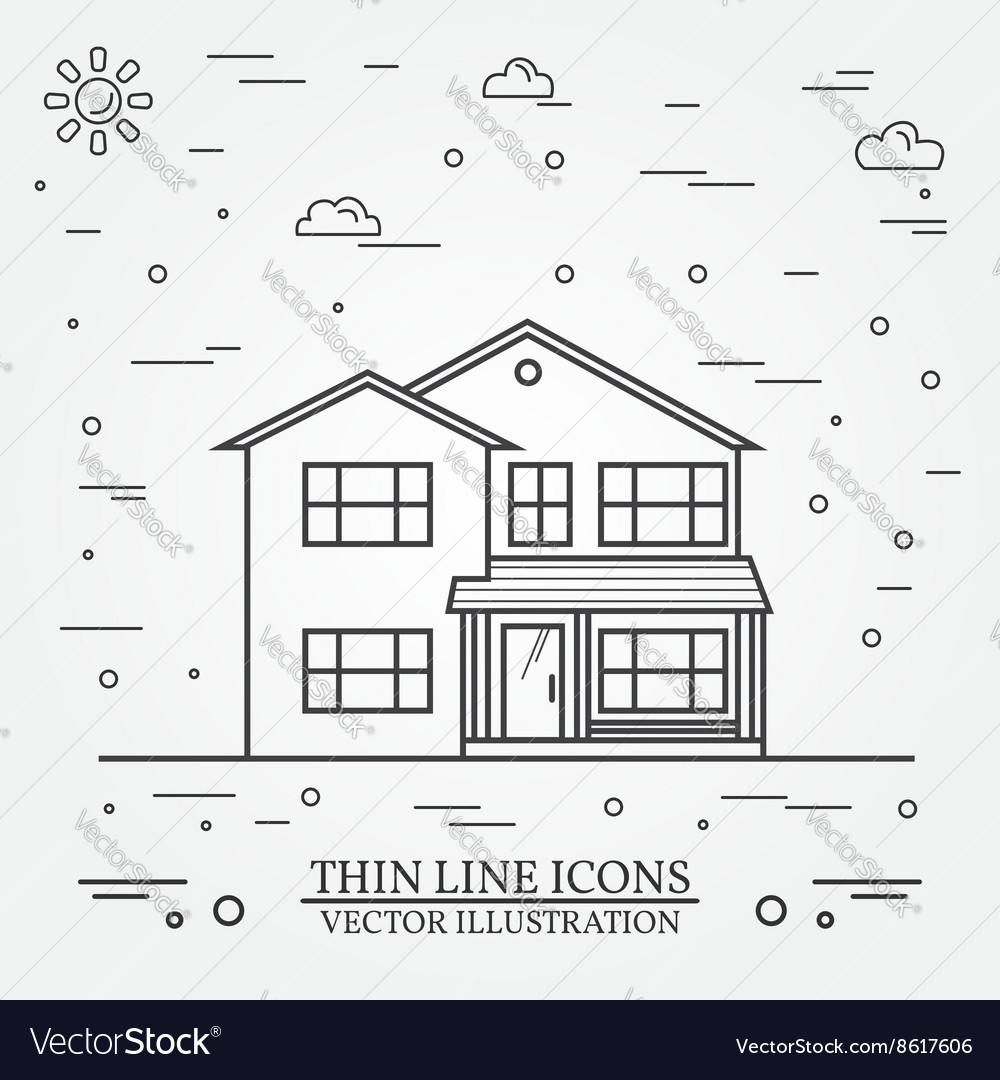 Thin line icon suburban american house vector