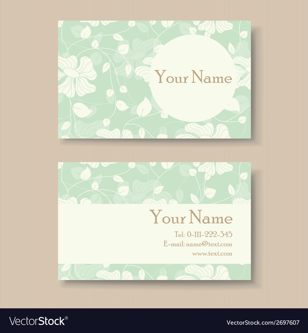 Business card with green floral background vector