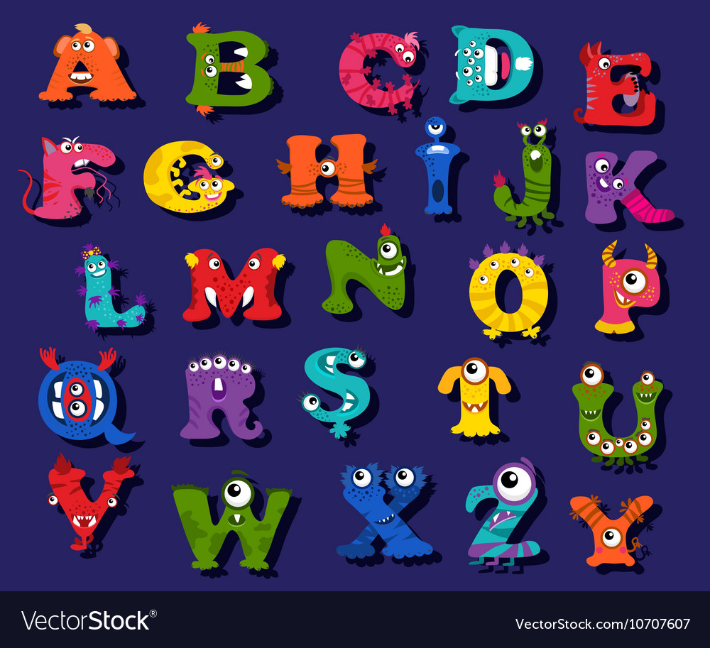 Halloween funny alphabet for children vector