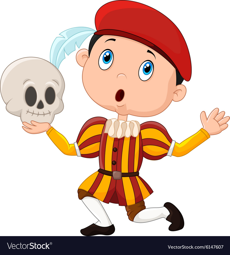 Little boy playing hamlet in a school play holdin vector