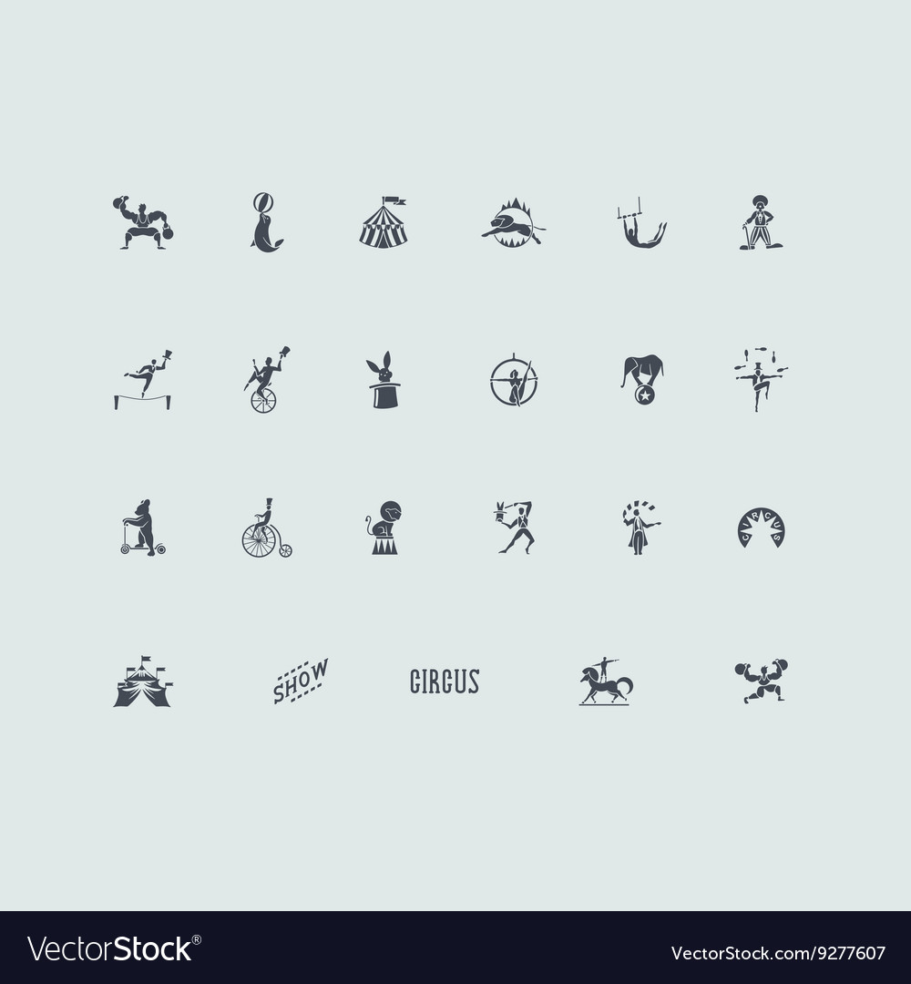 Set of circus icons vector