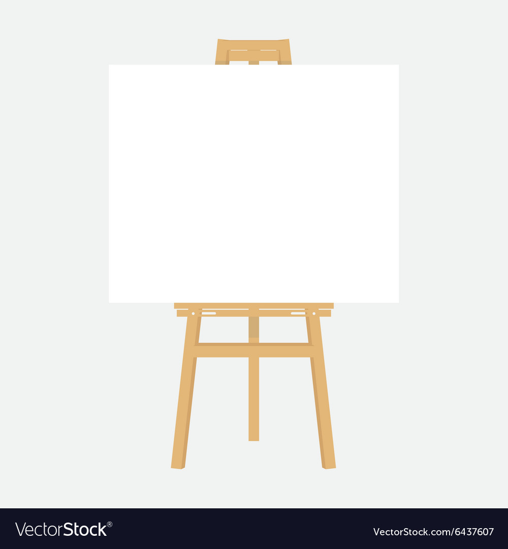 Wooden easel with canvas vector