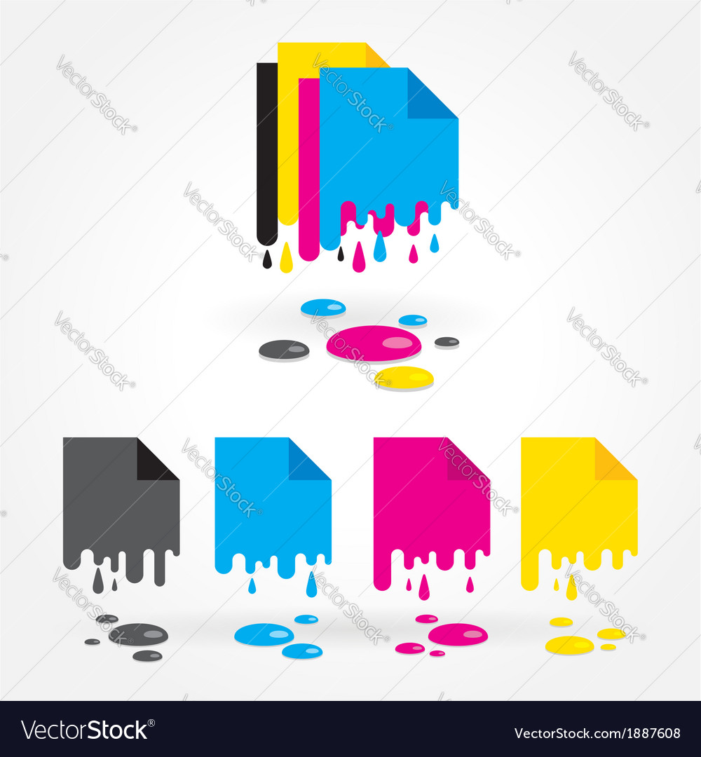 Cmyk blank drops colored vector