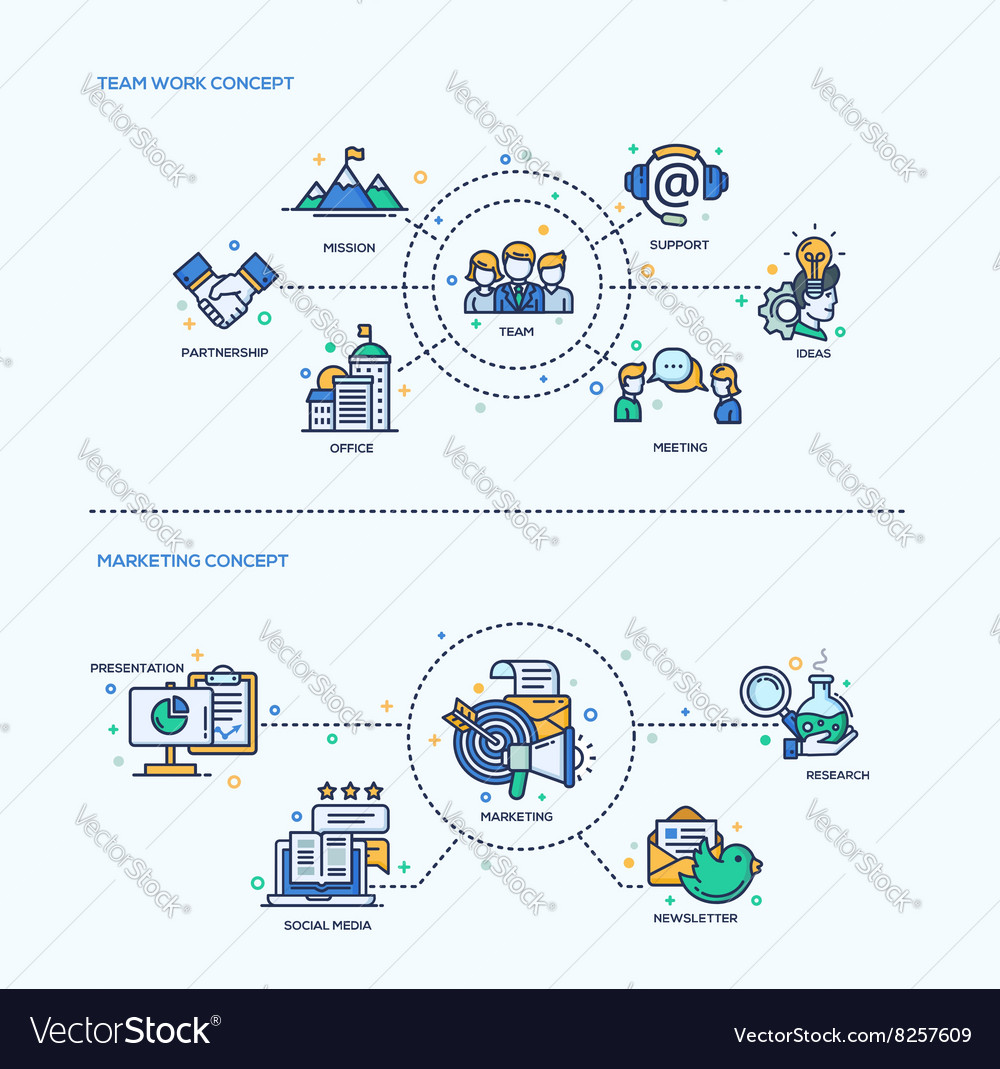 Team work marketing icons business concept vector
