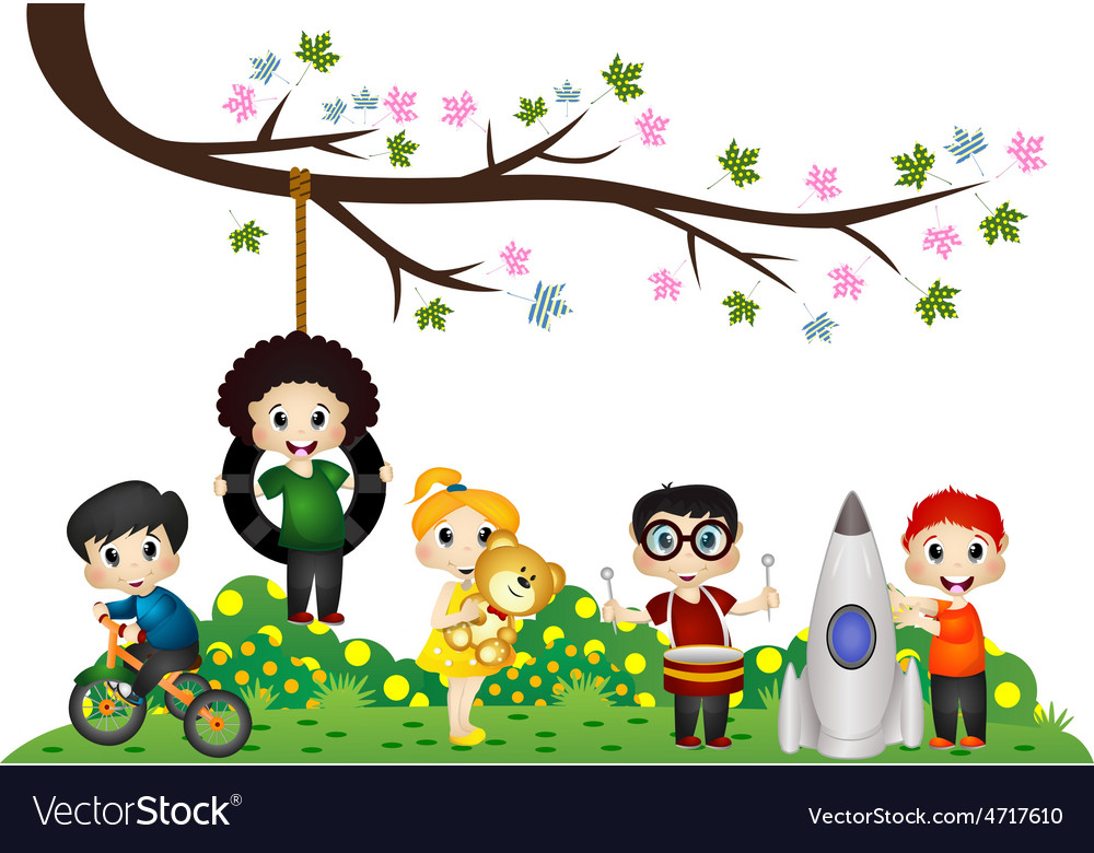 Children playing under a tree branch vector