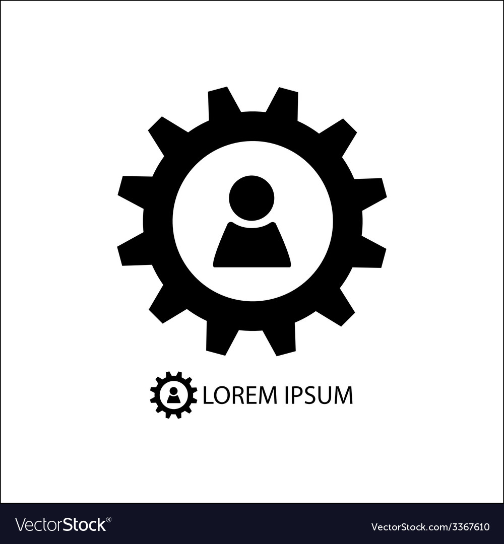 Gear wheel with person sign vector