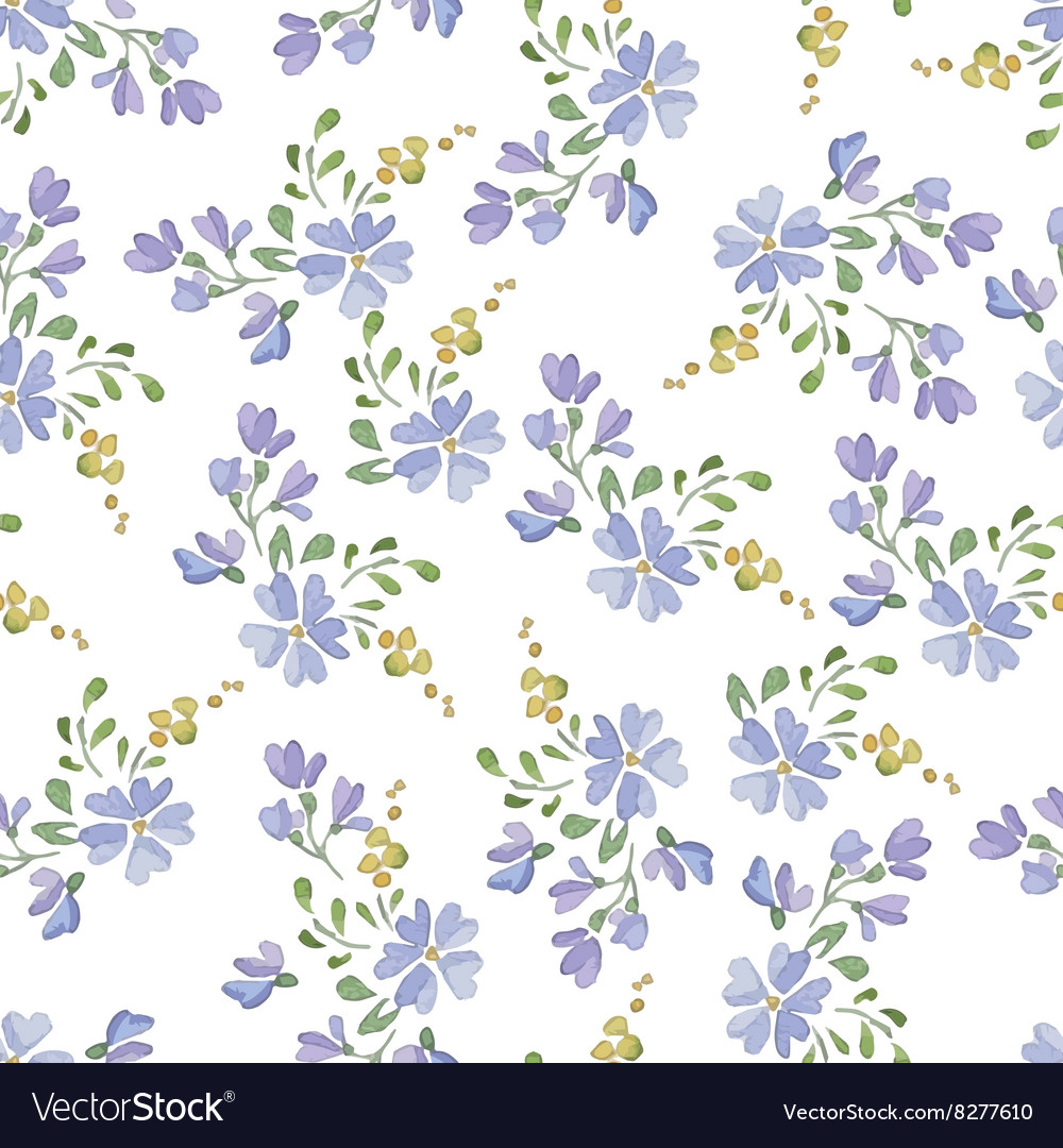 Seamless patterns with watercolor flowers vector