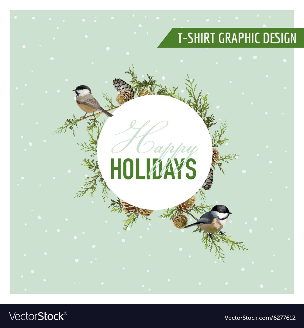 Christmas winter birds graphic design vector