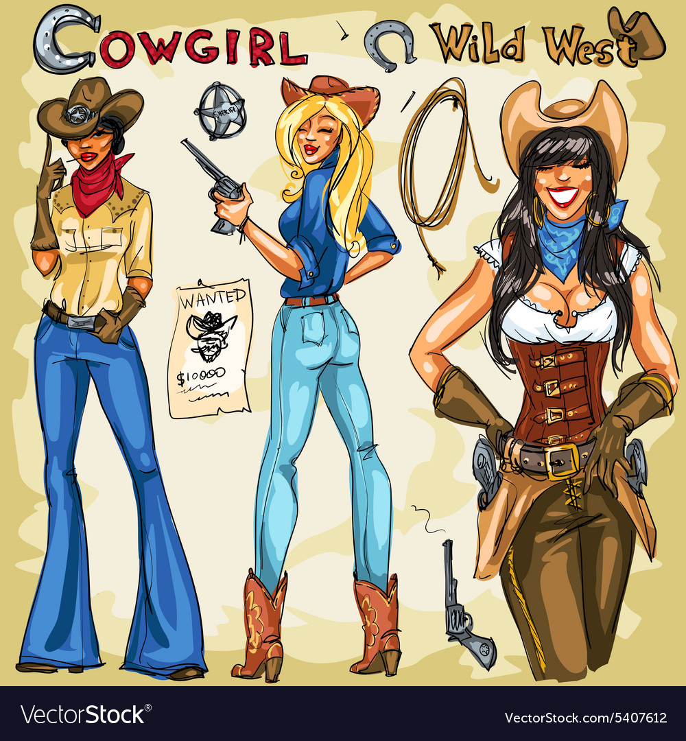 Cowgirls hand drawn collection vector