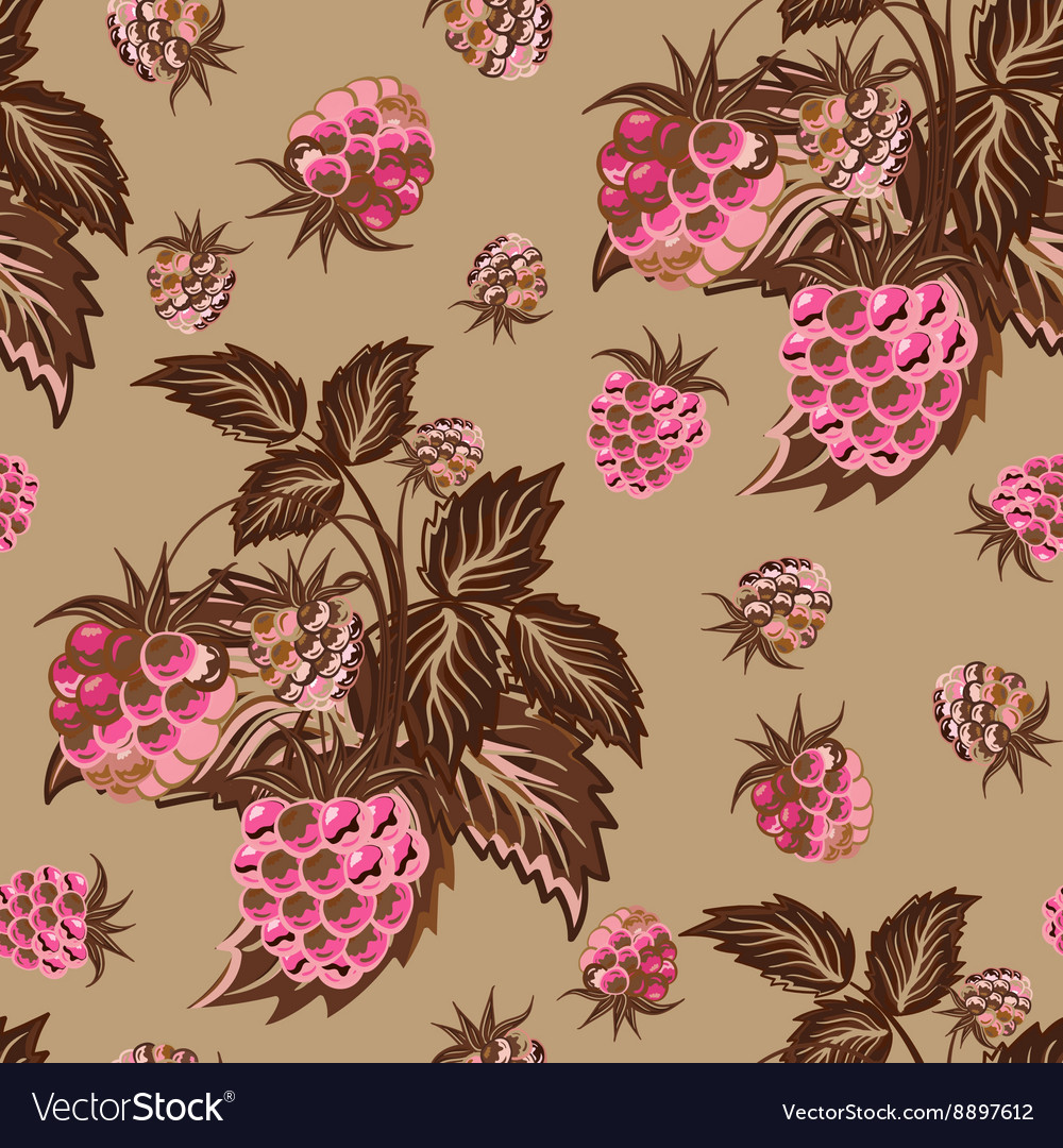 Seamless pattern with pink raspberries on beige vector