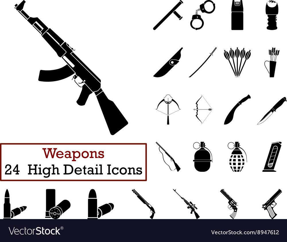 Set of 24 weapon icons vector