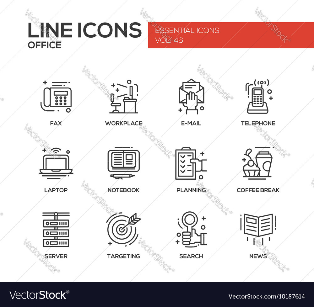 Office  flat design line icons set vector