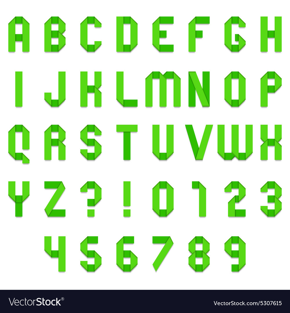 Green folded paper font vector